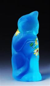"BLUE CAT WITH HANDPAITED FLOWERS BY K.ANDERSON. GLASS IS MADE BY FENTON. 4"" TALL."