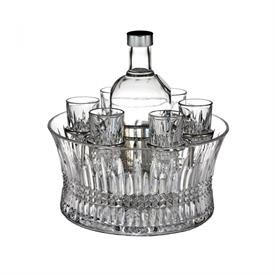 "-VODKA SET WITH 10"" CHILL BOWL, SET OF 6 SHOT GLASSES AND SILVER INSERT"