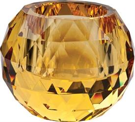 _,CUT BALL YELLOW VOTIVE CRYSTAL BY OLEG CASSINI