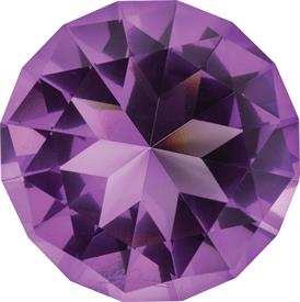 "_LAVENDER 'DIAMOND' PAPERWEIGHT. MSRP $35.00 3"" DIAMETER MADE OF CRYSTAL"