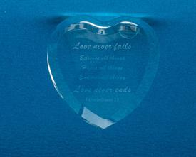 _CATHEDRAL CORINTHIANS QUOTE HEART PAPERWEIGHT. MSRP $29.00
