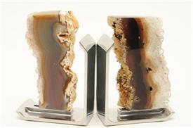 "_,FIM AGATE BOOKENDS. 6"" TALL, 4"" LONG, 2.2"" WIDE"