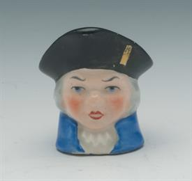 "MINIATURE TOBY MUG, CA. 1950S. UNKNOWN CHARLES DICKENS CHARACTER, POSSIBLY MR. BUMBLE. 1.5"" TALL"