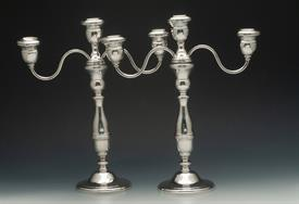 ",WESTMORLAND STERLING SILVER 3 LIGHT CANDELABRAS PAIR 13.5"" TALL NICE CONDITION - WEIGHTED"