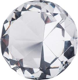 _OLEG CASSINI CLEAR ROUND DIAMOND PAPERWEIGHT