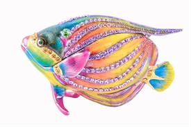 "-,PINK JEWELED ANGEL FISH TRINKET BOX. 3.5"" LONG, 2.5"" TALL, 1.25"" WIDE"