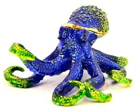 "-,BLUE & GREEN OCTOPUS JEWELED TRINKET BOX. 4.5"" LONG, 3.5"" WIDE, 2"" TALL"