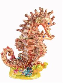 "-,SEAHORSE WITH BABY JEWELED TRINKET BOX. 4"" TALL, 3"" LONG, 1.5"" WIDE"