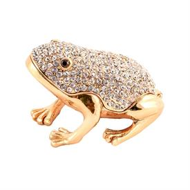 "_,CLEAR JEWELED FROG TRINKET BOX. 3"" LONG, 2.25"" WIDE, 1.75"" TALL. MSRP $44.99"