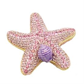 "_,PINK JEWELED STARFISH TRINKET BOX. 2.5"" WIDE, 1"" TALL. MSRP $49.99"