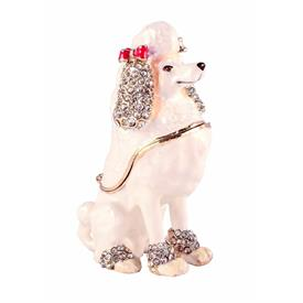 "_,WHITE JEWELED POODLE TRINKET BOX. 3.25"" TALL, 2"" LONG, 1.25"" WIDE. MSRP $39.99"