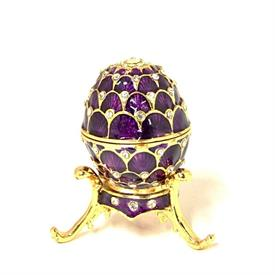 "_,PURPLE FABERGE STYLE EGG TRINKET BOX ON STAND. 2"" TALL, 1.25"" WIDE. MSRP $34.99"
