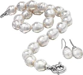 "_,Baroque 3pc set 18"" single strand with white hook earrings 14x16mm"