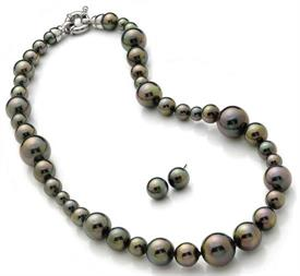 "_,3PC.TAHITIAN BUBBLE 18"" BLACK PEARLS VARYING FROM 6MM TO 16MM FORMING A FUN TROPICAL THEME  INCLUDES MATCHING EARRINGS"