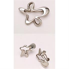 ,1950'S MODERNIST EARRINGS & BROOCH SET. DESIGNED BY FAMED ARTIST HENNING KOPPEL, CREATOR OF THE AMOEBA SHAPE IN MID CENTURY DESIGN