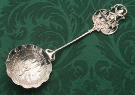 ",DUTCH OLD WORLD THEMED SMALL SERVING SPOON 7.5"" 1.35 TROY OUNCE UNMARKED 835 SILVER  83.5% PURE"