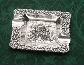 """ASH TRAY DUTCH OLD WORLD THEMED SILVER UNMARKED PROBABY 835 FINE   83.5% PURE 1.25 TROY OUNCES 4"""" X 3"""" X .5"""""""