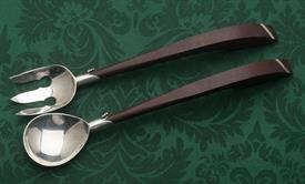 "SALAD SET MADE IN MEXICO STERLING SIVLER BOWLS WITH WOODEN HANDLES 11"" LONG FOR THE PAIR"