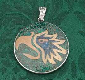 """PENDANT/AMULET STERLING SILVER MADE IN MEXICO WEIGHT 1.20 TROY OUNCES 2.15"""" DIAMETER"""