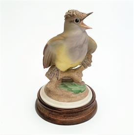 ",458 'BABY CRESTED FLYCATCHER' FIGURINE. HAND PAINTED. 5"" TALL, 3.25"" WIDE"