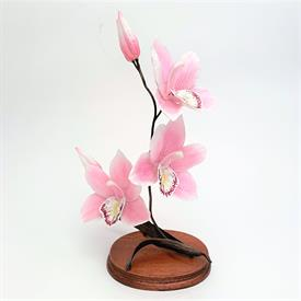 """,60008 PINK CYMBIDIUM ORCHID FIGURINE. BRONZE WITH PORCELAIN PETALS. 10.6"""" TALL"""