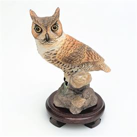 ",20074 'GREAT HORNED OWL' FIGURINE. 5.75"" TALL, 4.75"" LONG, 4"" WIDE"