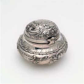 ",;18TH CENTURY INKWELL. MADE IN PARIS, FRANCE CA. 1733-1780. 3.45 TROY OZ. 2"" TALL, 3"" WIDE. FEATURES PASTORAL SCENES."