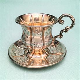 ,TEA CUP & SAUCER, 950% PURE. POSSIBLY MADE BY ATIENNE-AUGUSTE COURTOIS, PARIS. CIRCA 1840-1879. MADE FOR EXPORT.
