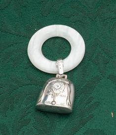 BIRTH YEAR TEETHING RING WHITE PLASTIC