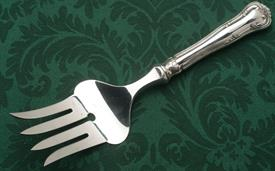 """,HH MEAT FORK. STERLING HANDLE, PLATED TINES. DANISH SILVER BY FIR.MUNKSGAARD. 10"""" LONG"""