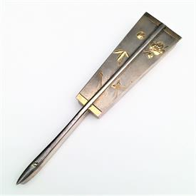 ",1868-1912 JUNGIN SILVER OGI FAN SHAPED TRINKET BOX WITH GOLD DETAILING. 4.5"" LONG, 1"" WIDE, .3"" DEEP. .80 OZT"