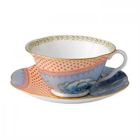 -BLUE PEONY TEA CUP & SAUCER