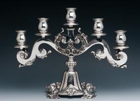",5 LIGHT CANDELABRUM EUROPEAN SILVER 85-90% SILVER 63.30 TROY OUNCES GROSS PROBABLY ABOUT 40 OZ. NET 11"" TALL BY 14.5"" WIDE"