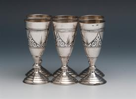 "SET OF 6 RUSSIAN 87.5% PURE SILVER SHOT GLASSES TOTAL WEIGHT 6.35 TROY OUNCES 3.3"" TALL INTRICATELY DESIGNED"