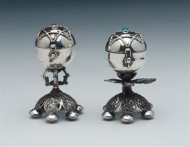 ",SALT & PEPPER SHAKERS PAIR MADE IN RUSSIA IN 1873 OF 84% PURE SILVER WEIGHS 2.80 TROY OUNCES 3"" TALL -NICE CONDITION"