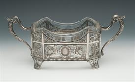 """,BOTTLE HOLDER MADE IN RUSSIAN BETWEEN 1908 AND 1917 BY AN UNKNOWN MAKER 84% SILVER 7.35 TROY OZ OF SILVER WITH A GLASS INSERT 10""""X4.5""""X4.25"""