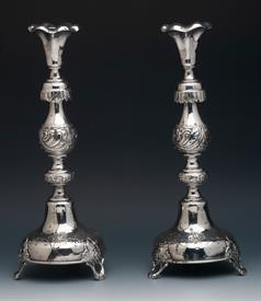 "CANDLESTICKS MADE IN RUSSIA IN 1890 WEIGHT 21.90 TROY OUNCES 13.5"" TALL CONDITION A 7 OUT OF 10"