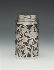 ",AMBER GLASS AND RETICULATED STERLING JAR 4.7"" TALL"