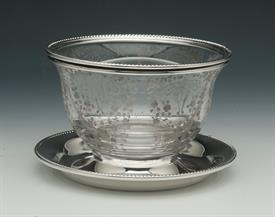",HIRSCH STERLING BORDER AND CAMBRIDGE GLASS BOWL DIVIDED IN TWO 6"" DIAMETER  BY 3.75"" TALL"