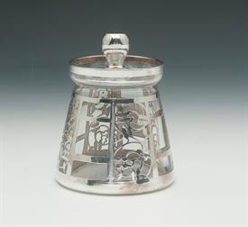 ",STERLING RETICULATED SILVER OVER GLASS MUSTARD/MAYONAISSE JAR 4.5"" TALL"