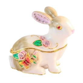 "-,BEJEWELED SITTING RABBIT WHITE WITH JEWELED FLORAL DECORATION. 2.5"" TALL, 2.25"" LONG"