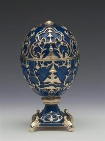 """_,BLUE & GOLD FABERGE STYLE EGG WITH DOUBLE HEADED EAGLE MOTIF. 4.25"""" TALL"""