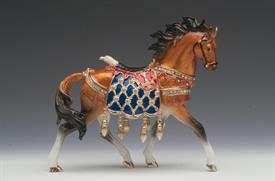 -,LARGE BROWN HORSE WITH AMERICAN BALD EAGLE SADDLE