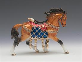 -,SMALL BROWN HORSE WITH AMERICAN BALD EAGLE SADDLE