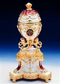 "_,1013965B3 small russian egg white with gold trim 5"" tall"