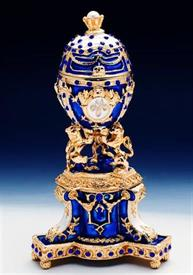 "_,1013965A3 small russian egg blue with gold trim 4.5""4"