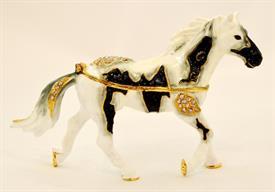 "-1131463 BLACK & WHITE RUNNING HORSE TRINKET BOX 4""T X 5 1/2""L"