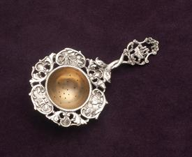 "800 FINE OLD WORLD THEMED TEA STRAINER 5"" LONG 1.55 TROY OUNCES"
