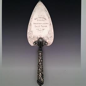 ",1859 ENGLISH CEREMONIAL TROWEL. 9.20 TROY OUNCES STERLING SILVER. 13.5"" LONG. MADE BY EDWARD & JOHN BARNARD."
