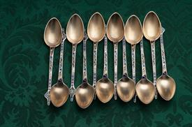 SET OF 12 GORHAM UNIQUE RUSSIAN ENAMELED CLOISSONIE STYLE DEMITASSE SPOONS STERLING SILVER